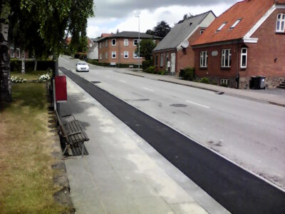 Ny cykelsti langs Bredgade i Langå